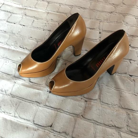 921ec5ee5d0 MIU MIU Peep Toe Platform Heels Size 36